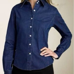 Faconnable Chambray Cotton Button Down Blouse